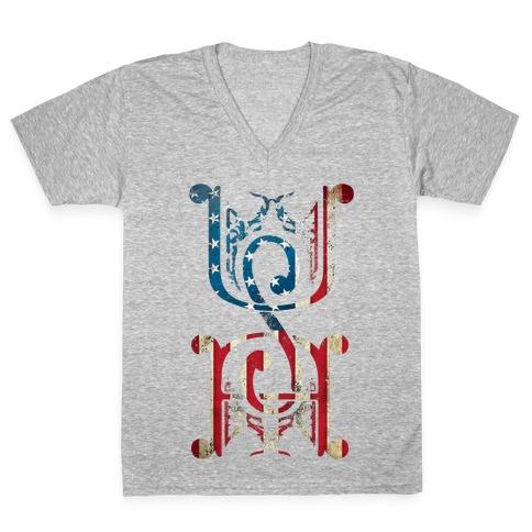 USA (Patriotic Raglan) V-Neck Tee Shirt