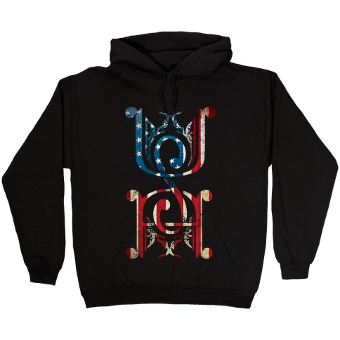 USA (Patriotic Raglan) Hooded Sweatshirt