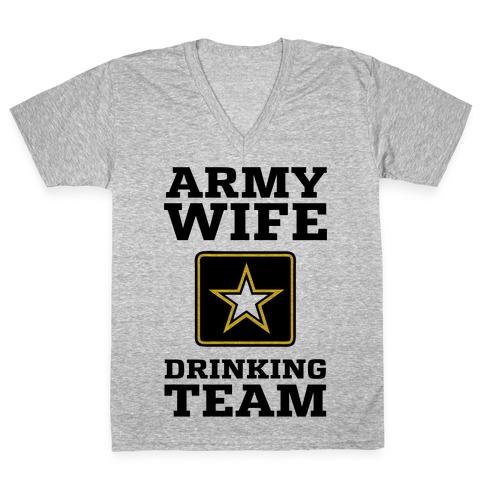 Army Wife Drinking Team (Army Baseball Tee) V-Neck Tee Shirt