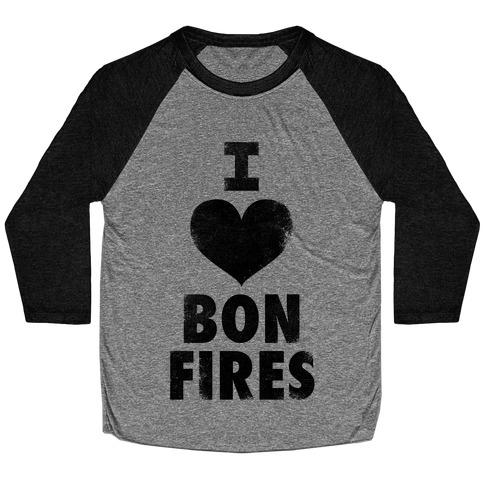 I Heart Bonfires Baseball Tee