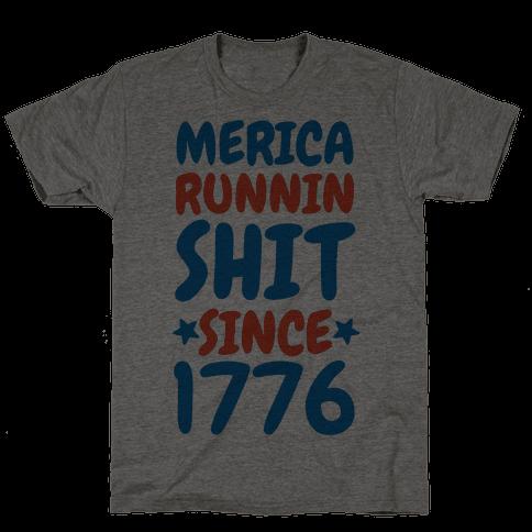 Merica: Runnin Shit Since 1776 (Patriotic Baseball Tee)