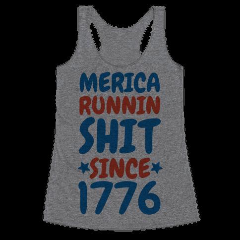 Merica: Runnin Shit Since 1776 (Patriotic Baseball Tee) Racerback Tank Top