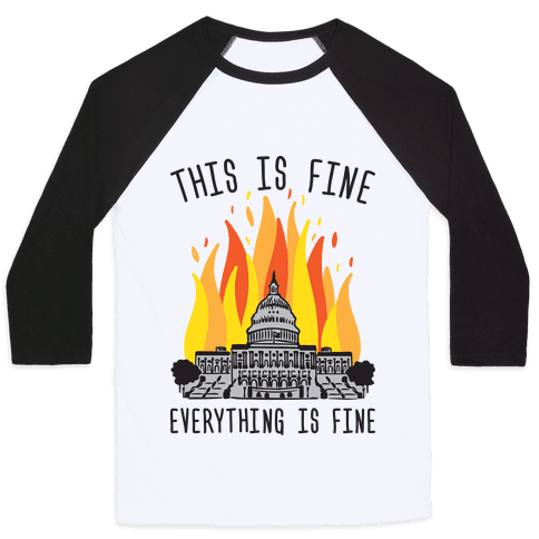 This Is Fine Everything Is Fine U.S. Capitol Baseball Tee