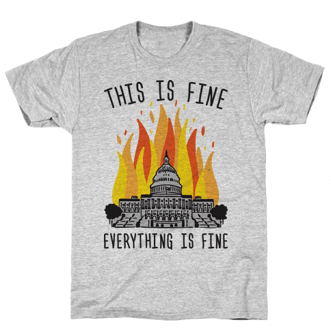 This Is Fine Everything Is Fine U.S. Capitol Mens/Unisex T-Shirt