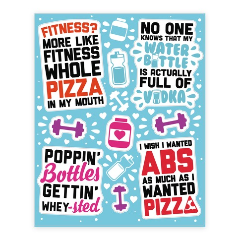 Funny Fitness Sticker and Decal Sheet
