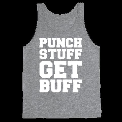 Punch Stuff Get Buff White Print Tank Top