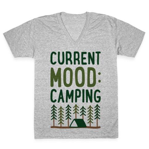 Current Mood: Camping (CMYK) V-Neck Tee Shirt