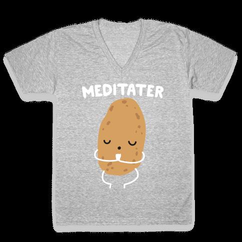 Meditater Meditating Potato V-Neck Tee Shirt