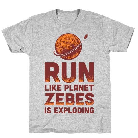 Run Like Planet Zebes Is Exploding Mens/Unisex T-Shirt