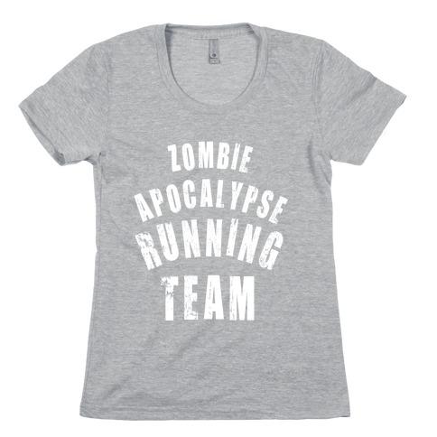 Zombie Apocalypse Running Team (White Ink) Womens T-Shirt