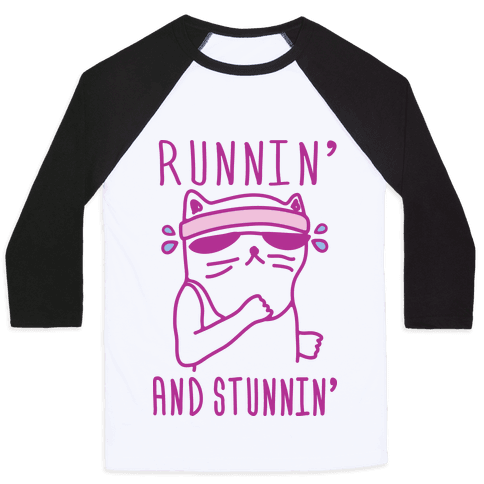Runnin' And Stunnin' Cat Baseball Tee
