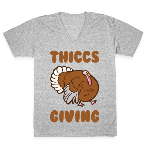 Thiccs-Giving Parody White Print V-Neck Tee Shirt