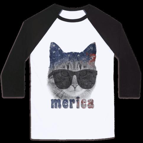 Merica Cat Baseball Tee