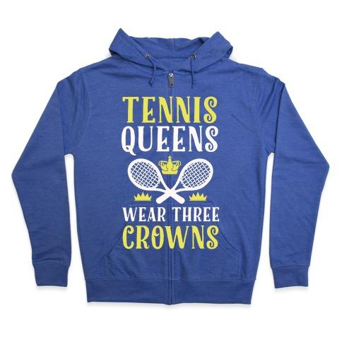 Tennis Queens Wear Three Crowns Zip Hoodie