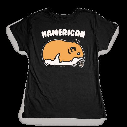 Hamerican Parody White Print Womens T-Shirt
