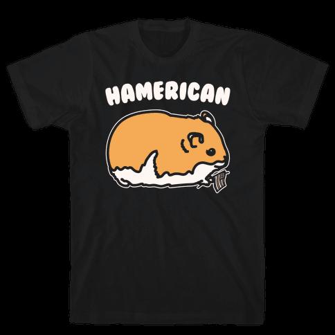 Hamerican Parody White Print Mens/Unisex T-Shirt