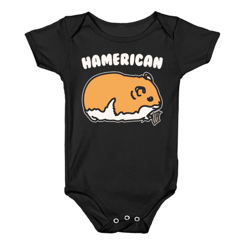 Hamerican Parody White Print Baby Onesy