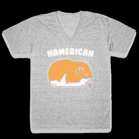 Hamerican Parody White Print V-Neck Tee Shirt