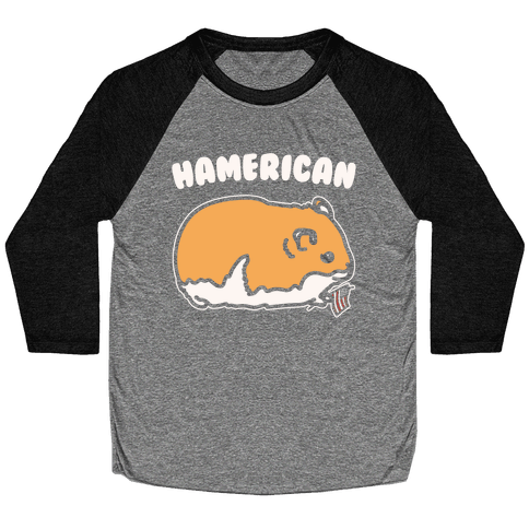 Hamerican Parody White Print Baseball Tee
