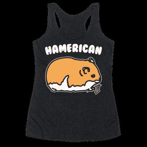 Hamerican Parody White Print Racerback Tank Top