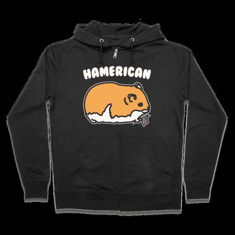 Hamerican Parody White Print Zip Hoodie