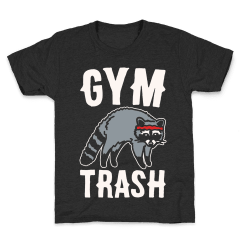 Gym Trash Raccoon White Print Kids T-Shirt