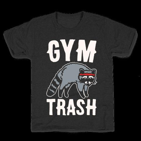 Gym Trash Raccoon White Print Kids T-Shirt