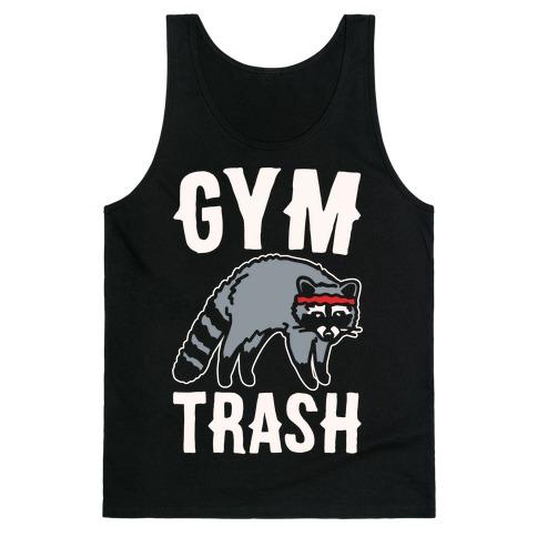 Gym Trash Raccoon White Print Tank Top