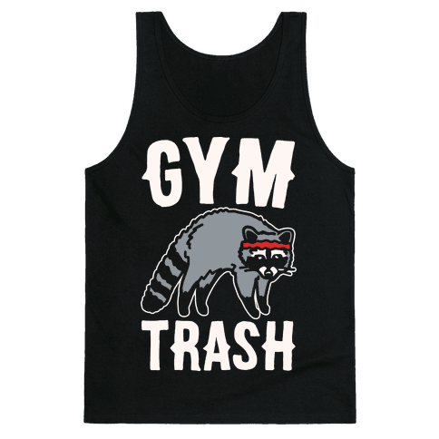 Gym Trash Raccoon White Print Tank Top