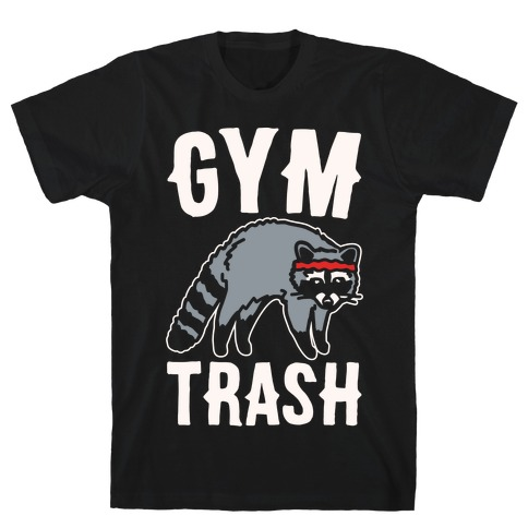 Gym Trash Raccoon White Print T-Shirt