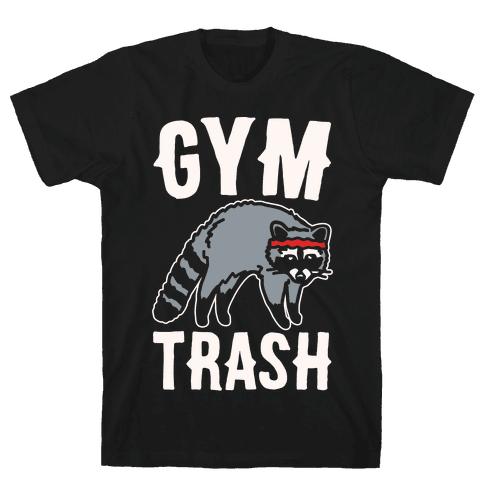 Gym Trash Raccoon White Print Mens T-Shirt