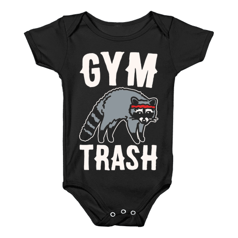 Gym Trash Raccoon White Print Baby Onesy