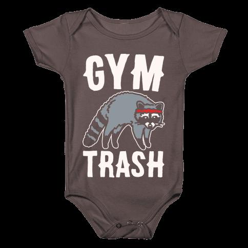 Gym Trash Raccoon White Print Baby One-Piece
