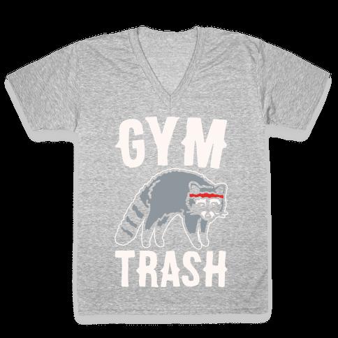 Gym Trash Raccoon White Print V-Neck Tee Shirt