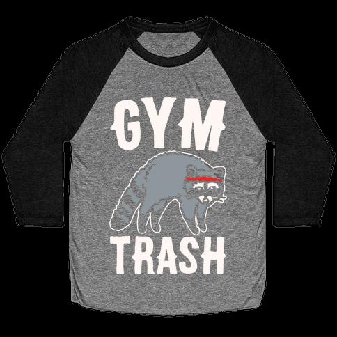 Gym Trash Raccoon White Print Baseball Tee
