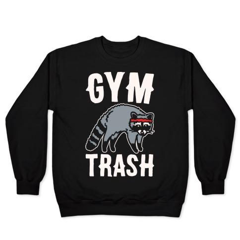 Gym Trash Raccoon White Print Pullover