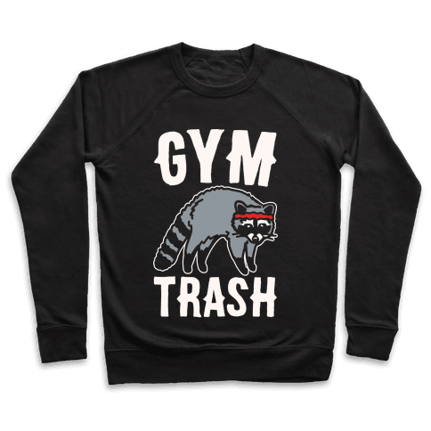 Gym Trash Raccoon White Print Pullover