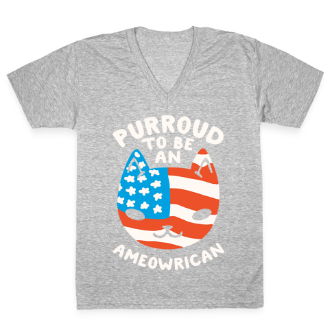 Purroud to be an Ameowrican V-Neck Tee Shirt