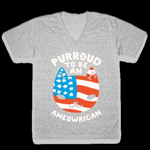 Purroud to be an Ameowrican V-Neck Tee Shirt