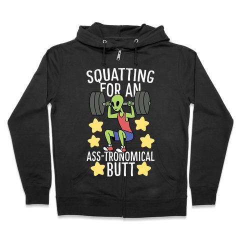 Squatting for an Ass-tronomical Butt Zip Hoodie