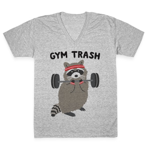 Gym Trash Raccoon V-Neck Tee Shirt