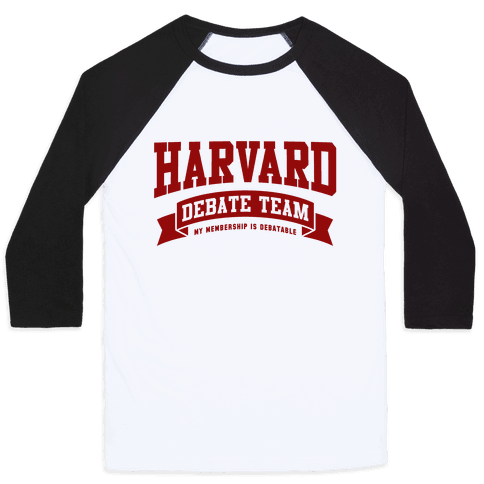 Harvard Debate Team Parody Shirt Baseball Tee
