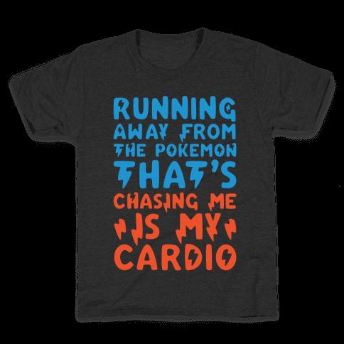 Running Away From The Pokemon That's Chasing Me Parody White Print Kids T-Shirt