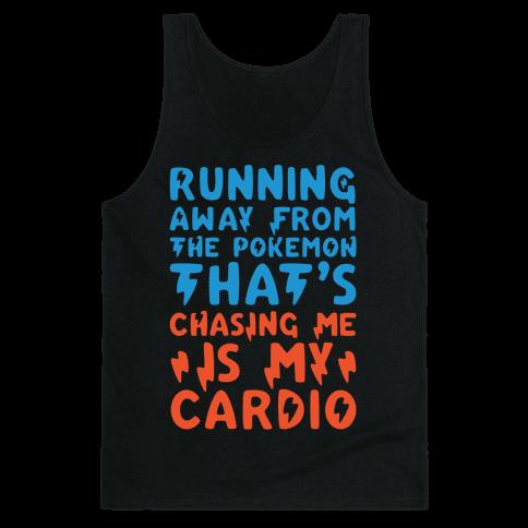 Running Away From The Pokemon That's Chasing Me Parody White Print Tank Top