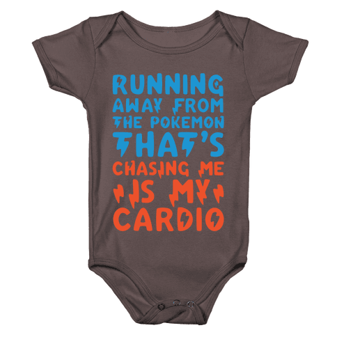 Running Away From The Pokemon That's Chasing Me Parody White Print Baby One-Piece