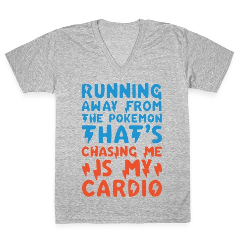 Running Away From The Pokemon That's Chasing Me Parody White Print V-Neck Tee Shirt