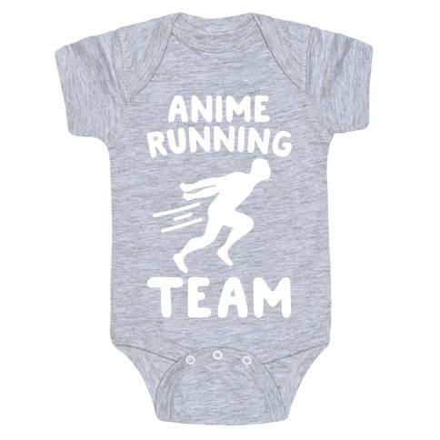 Anime Running Team White Print Baby Onesy