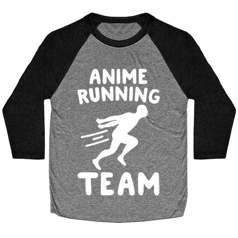 Anime Running Team White Print Baseball Tee