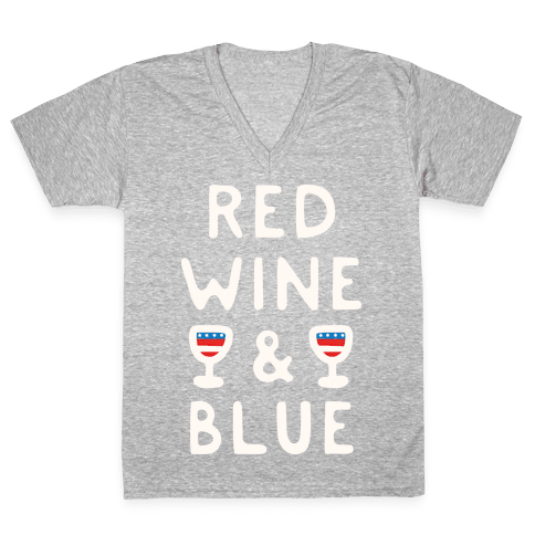 Red Wine And Blue V-Neck Tee Shirt