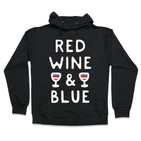 Red Wine And Blue Hooded Sweatshirt